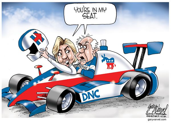 Hillary Clinton is claiming to be the Democratic nominee but Bernie Sanders is in the way.