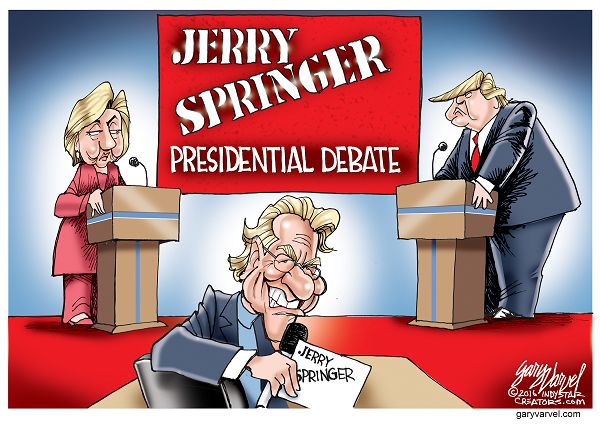 Based on the current attacks by Hillary Clinton and Donald Trump, the Presidential debate moderator should be Jerry Springer.
