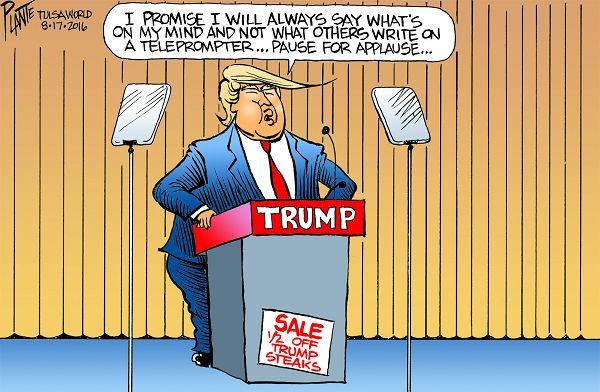 Bruce Plante Cartoon: Trump's teleprompter, Donald J. Trump, Republican Presidential Candidate 2016, Presidential Campaign 2016, Republican, Party, GOP, RNC, Plante 20160820