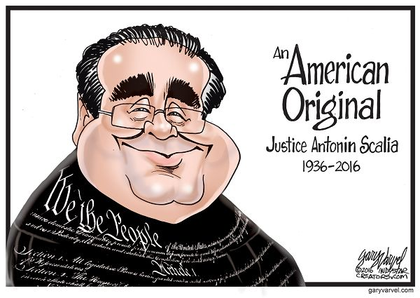 """Supreme Court Justice Antonin Scalia has died. I wrapped him in the Constitution because he said he loved it. He called himself an Originalist and criticized people who believed in a """"living Constitution. Scalia once said, """"The Constitution is not a living organism; it is a legal document. It says something and doesn't say other things."""""""