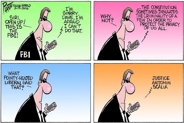 Bruce Plante Cartoon: Apple and the FBI, iPhone, encryption, unlocking privacy protections, Apple CEO Tim Cook, San Bernadino CA, ISIS, Justice Antonin Scalia, Plante 20160220