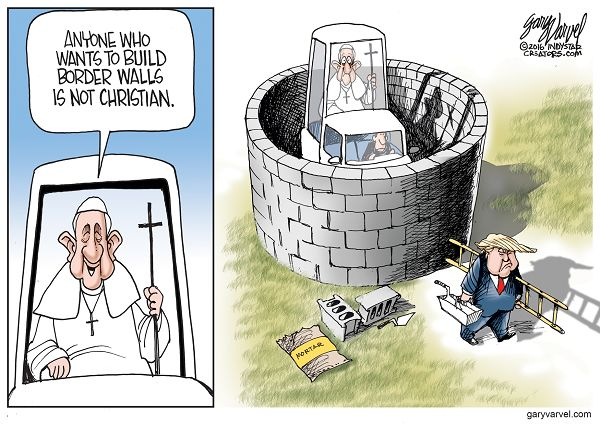 """Pope Francis drove into the heated American presidential campaign by questioning whether Donald Trump is a Christian if he really wants to deal with illegal immigration by building a wall along the U.S.-Mexico border. Trump fired back, """"disgraceful"""" for a religious leader to question a person's faith."""
