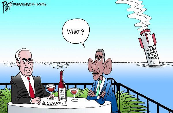 Bruce Plante Cartoon: Iran missile tests and Obama, President Barack Obama, Israeli President Benjamin Netanyahu, Iran, United Nations Security Council, Plante 20160313