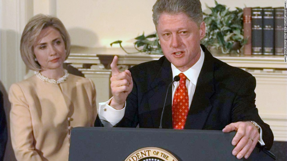 UNITED STATES - JANUARY 26: President Clinton with First Lady Hillary Rodham Clinton speaking on Monica Lewinsky scandal in the Roosevelt Room at the White House. (Photo by Harry Hamburg/NY Daily News Archive via Getty Images)