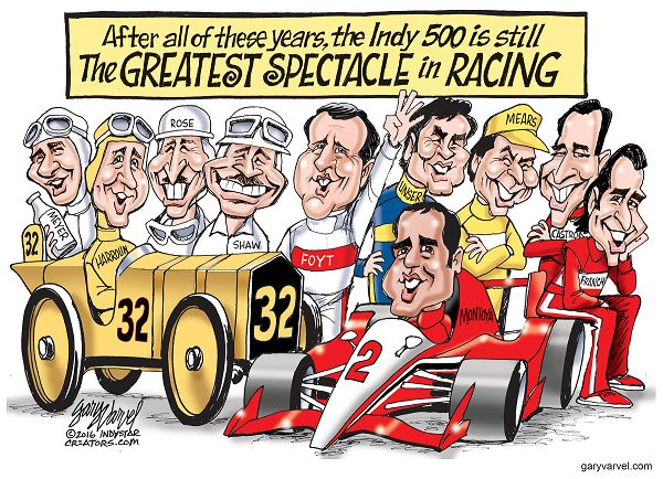 The Indianapolis 500 Mile Race has a rich history of amazing drivers. From left: Louie Meyer, Ray Harroun, Maury Rose, Wilbur Shaw, A.J. Foyt, Al Unser, Rick Mears, Helio Castroneves, Dario Franchitti, Juan Pablo Montoya seated in car