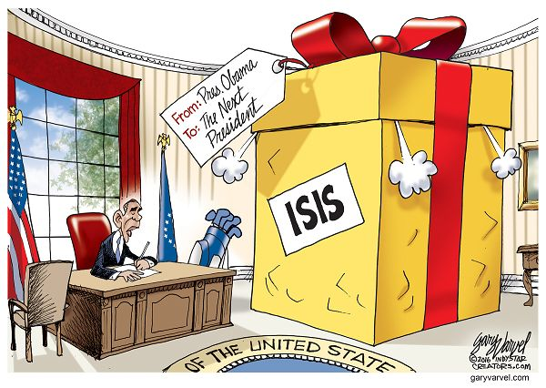 President Obama inherited the War on Terror from President Bush. After Obama withdrew U.S. troops from Iraq, ISIS was born. Now, ISIS will be left for the next President to fight.