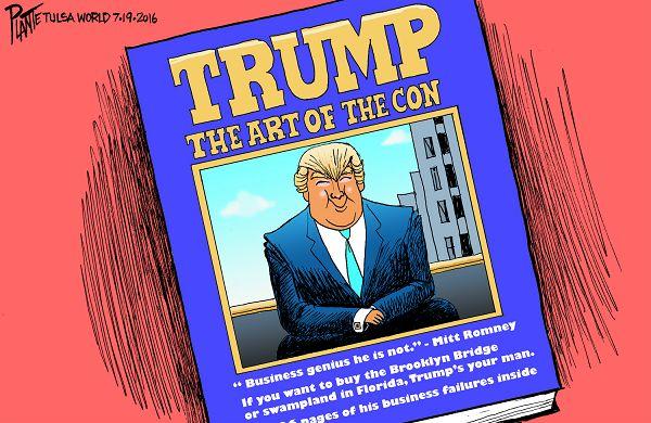 Bruce Plante Cartoon: Trump's Next Book, Donald J. Trump, Republican Presidential Nominee 2016, GOP, RNC, Republican Party, The Art of the Deal, The Art of the Con, Plante 20160720