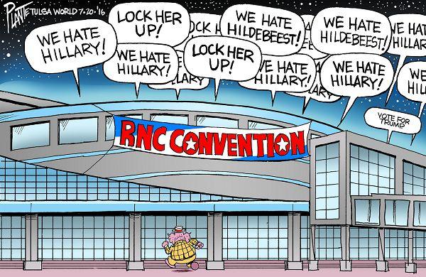 Bruce Plante Cartoon: RNC Convention 2016, Donald J. Trump, GOP, Presidential Campaign 2016, Republican Presidential Candidate, Secretary Hillary Rodham Clinton, Plante 20160721