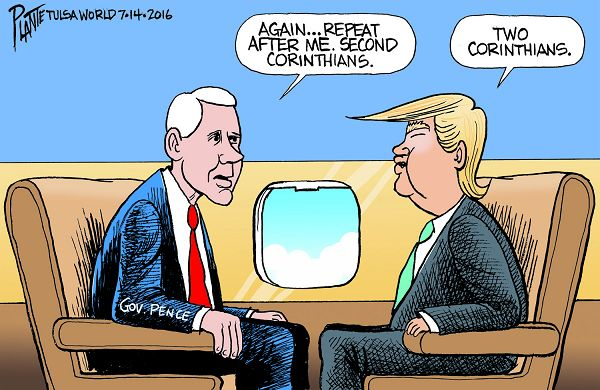 Bruce Plante Cartoon: Trump and Pence, Donald J. Trump, Indiana Governor Mike Pence, GOP, Republican National Convention 2016, Presumptive Republican Presidential Nominee 2016, RNC, Republican Party, Plante 20160716