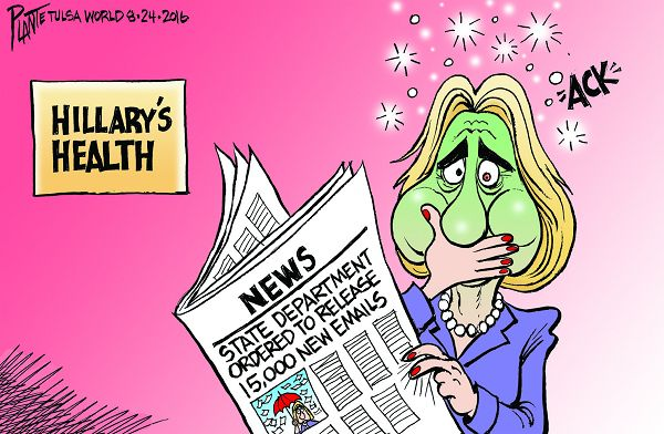 Bruce Plante Cartoon: Hillary's Health, Secretary Hillary Clinton, HRC, Democratic Presidential Candidate 2016, Campaign 2016, Democratic Party, DNC, emails, State Department, FBI, Plante 20160826
