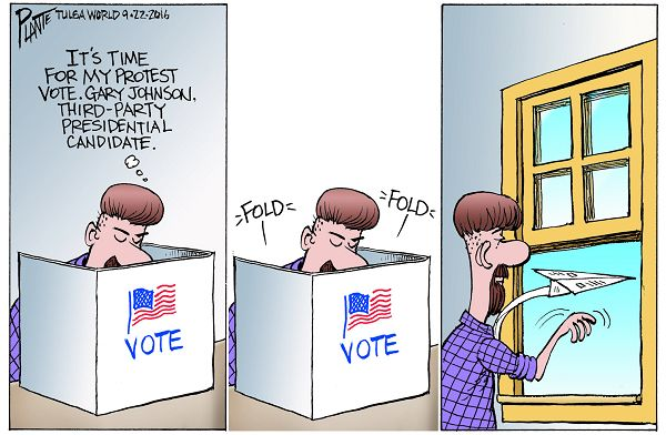 Bruce Plante Cartoon: The Protest Voter, Governor Gary Johnson, Libertarian Presidential Candidate 2016, Donald J. Trump, Secretary Hillary Clinton, third-party presidential candidate, Presidential Campaign 2016, Plante 20160923