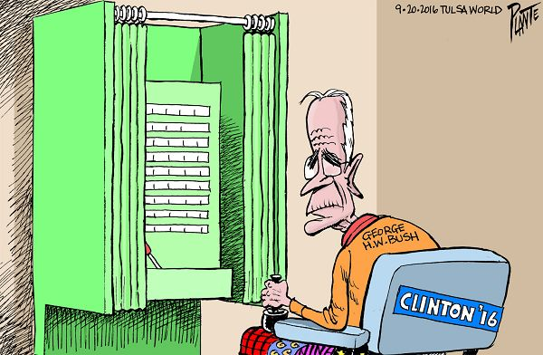Bruce Plante Cartoon: George H. W. Bush, Presidential Campaign 2016, Secretary Hillary Clinton, HRC, Donald J. Trump, Republican Party, Democratic Party, GOP, RNC, DNC, Plante 20160921