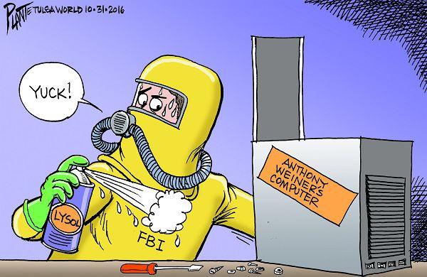 Bruce Plante Cartoon: The FBI dives into the emails, Federal Bureau of Investigation, FBI Director James B. Comey, Election 2016, Campaign 2016, Anthony Weiner, Huma Abedin, Secretary Hillary Clinton, Donald J.Trump, Plante 20161101