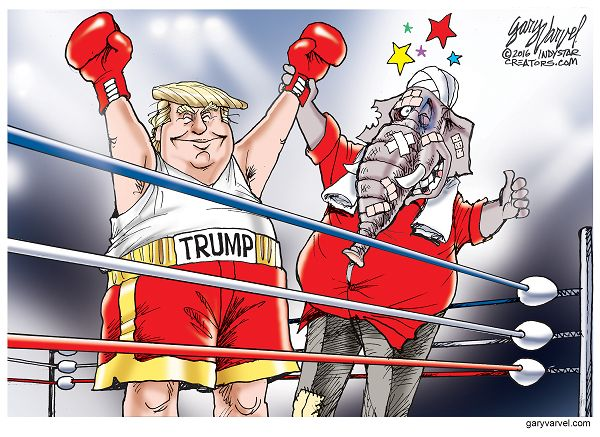 Donald Trump wins a bruising Presidential campaign that sometimes pitted the nominee against his own party.