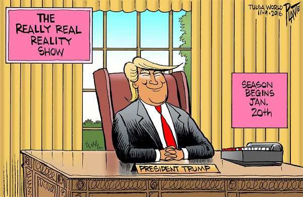Bruce Plante Cartoon: Trump's new reality show, President elect Donald J. Trump, the Oval Office, Presidential Campaign 2016, Election 2016, Plante 20161110